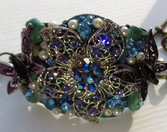 OOAK Assemblage Cuff Bracelet Butterfly Wishes Rhinestone Flower  Swarovski Crystal Turquoise Nugget