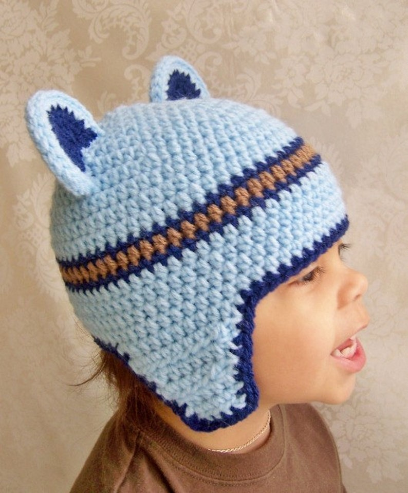 9472cf14 Crochet Hat, Teddy Bear Hat, Blue Hat, Crochet Hat for Boys, Bear Hat
