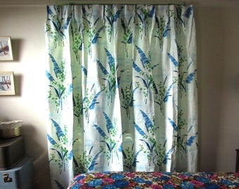 Set of 3 1960s Blue and White Leaves Foliage Long Pinch Pleat Drapery Drapes Curtains