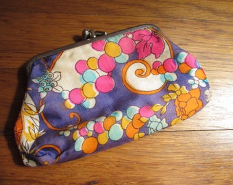 1960s Psychedelic Purple Orange Abstract Silk Satin Coin Change Purse