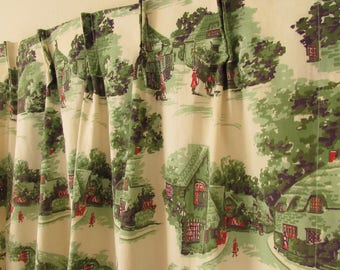 1950s Green and Cream Cottage Farmhouse Country Rustic Small Pinch Pleat Draperies Curtains Set of Two Panels