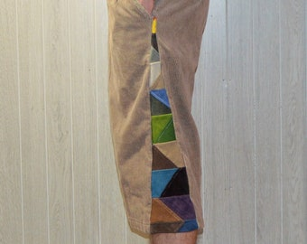 Patchwork Corduroy Shorts Multi-Colored Tan Hippie Handmade Festival Heady Upcycled Mens 30