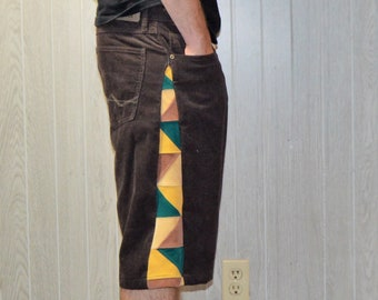 Patchwork Corduroy Shorts Brown Green Gold Tan Hippie Handmade Festival Heady Upcycled Mens 34