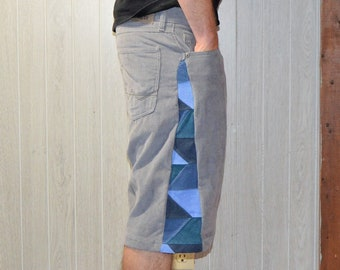 Patchwork Corduroy Shorts Gray Blue Hippie Handmade Festival Heady Upcycled Mens 32