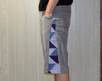 Patchwork Corduroy Shorts Gray Purple Hippie Handmade Festival Heady Upcycled Mens 32