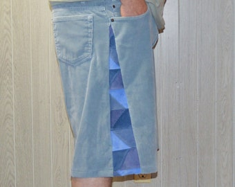 Patchwork Corduroy Shorts Gray Blue Hippie Handmade Festival Heady Upcycled Mens 44