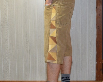 Patchwork Corduroy Shorts Brown Tan Hippie Handmade Festival Heady Upcycled Mens 30