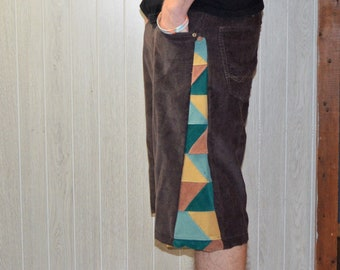 Patchwork Corduroy Shorts Brown Green Gold Hippie Handmade Festival Heady Upcycled Mens 32