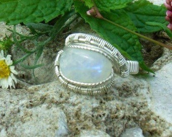 Wire Wrap Ring Rainbow Moonstone 925 Sterling Silver Any Size Custom Handmade Heady Jewelry Kynd Valley