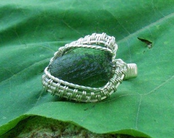 Wire Wrap Ring Green Moldavite Stone 925 Sterling Silver Any Size Handmade Heady Jewelry