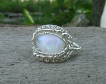 Wire Wrap Ring Rainbow Moonstone 925 Sterling Silver Any Size Handmade Heady Jewelry