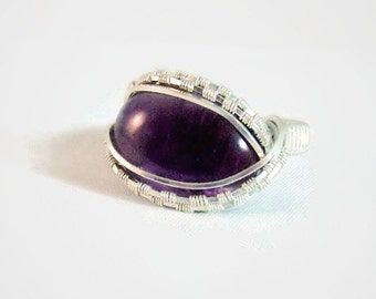 Wire Wrap Ring Purple Amethyst 925 Sterling Silver Size 9.5 Handmade February Birthstone Kynd Valley Gemstone Jewelry