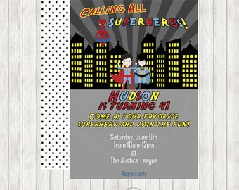 Superhero Printable Birthday Invitation