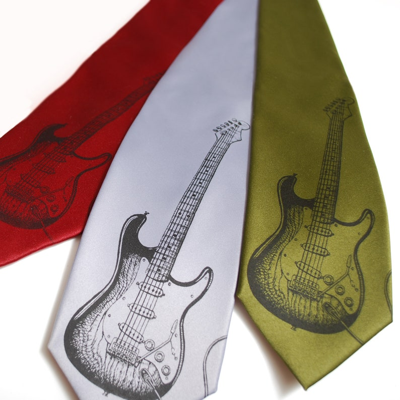 Instrument Tie Guitar player gift Guitar player Guitar necktie Gifts for Dad Father/'s Gift Musician gift