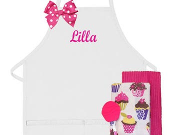 PERSONALIZED Adult and/or Child's Apron Set Cupcakes Design Mommy & Me
