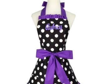 PERSONALIZED Adult Size Black, Purple & White Polka-Dot Pattern Apron