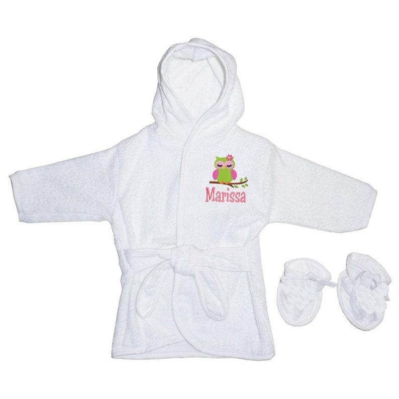 PERSONALIZED Monogrammed Sea Turtle Terry Hooded Bath Robe /& Slipper Set Sz 0-9 Mo