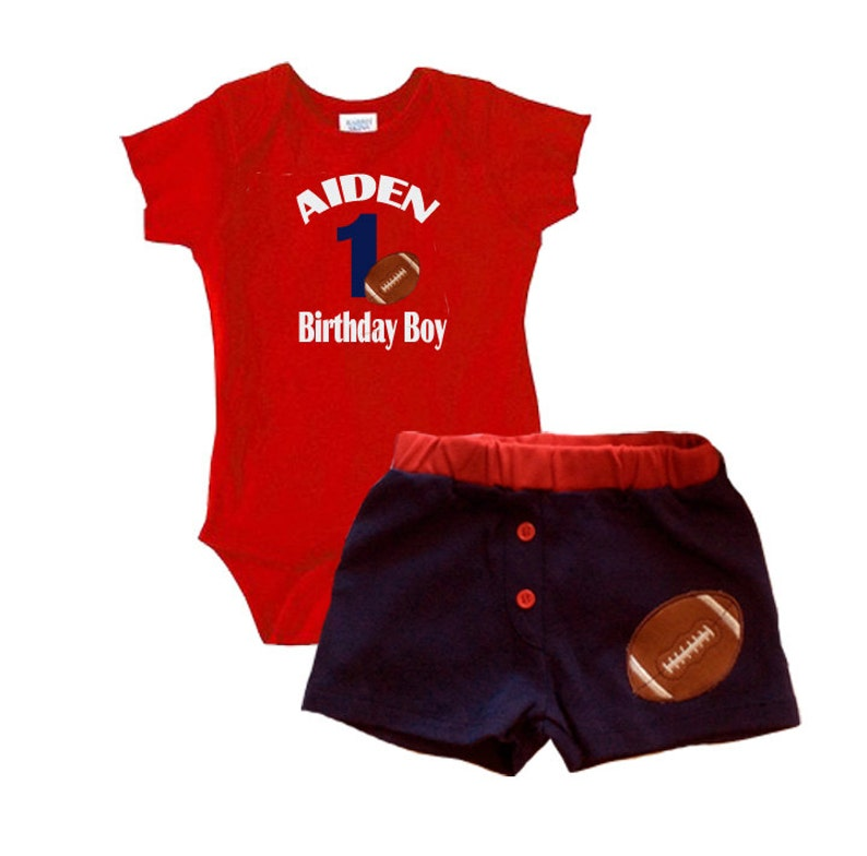 Personalized Baby Boys Football Theme 1ST Birthday Outfit