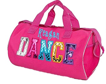 Personalized Embroidered Pink Multicolored Dance Duffel