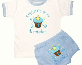 Personalized Boy's 1st Birthday Outfit Cupcakes Birthday Design