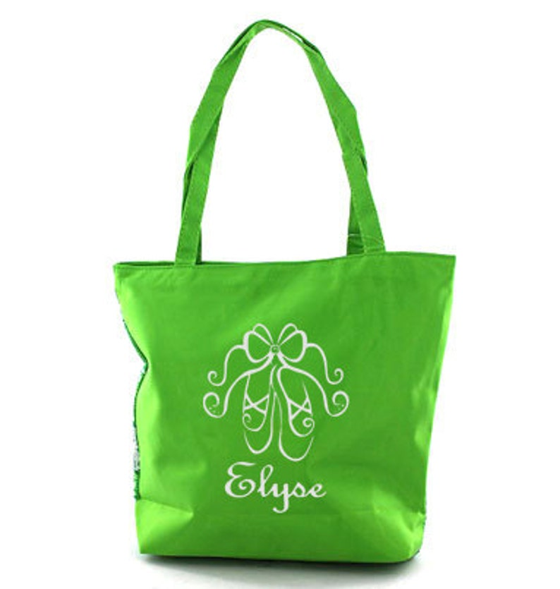Acro Personalized Lime Sequined Star Tote Bag Ballet Dance Gymnastics