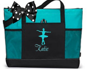 Personalized Black & Turquoise Tote Bag Dance Gymnastics Tap Jazz Cheer