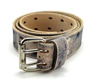 Noir ceinture en cuir vieilli à deux broches b39b0704833