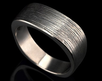 Square and scratched mens silver ring