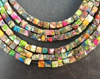 Rainbow Sea Sediment cube Beads small 4x4x4mm -small Colorful stone Cube beads -90pcs/strand