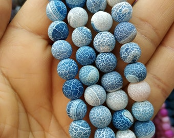 Matte White Antique Blue Frosted Agate,dragon veins Matte Blue stone 8mm Round Beads- 47pcs/Strand