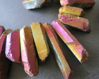 Mystic Titanium Purple Gold Rock Crystal Point Stick Beads 15-35mm- top drilled spikes