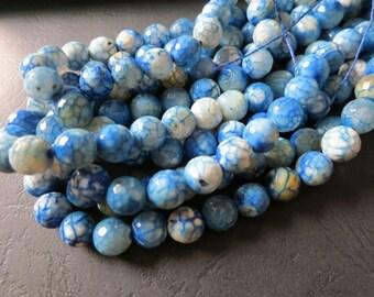 Blue White Dragon Veins Agate 10mm Round Beads-- 37pcs/Strand