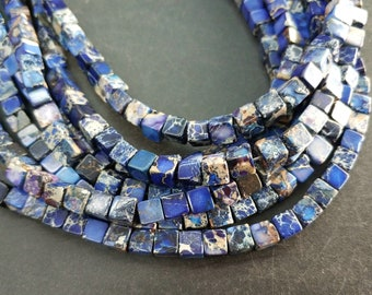 Royal Blue Sea Sediment cube Beads small 4x4x4mm -small Blue stone Cube beads -90pcs/strand