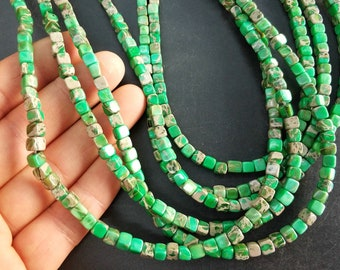Bright Green Sea Sediment cube Beads small 4x4x4mm -small Green stone Cube beads -90pcs/strand