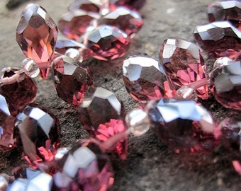 100pcs/lot --Crystal Glass Wine Red Faceted Pair Briolettes 6x12mm-- top drilled