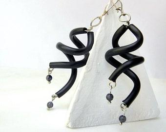 black earrings, minimalist geometric dangle rubber jewelry boho modern gyspy earrings spiral curls