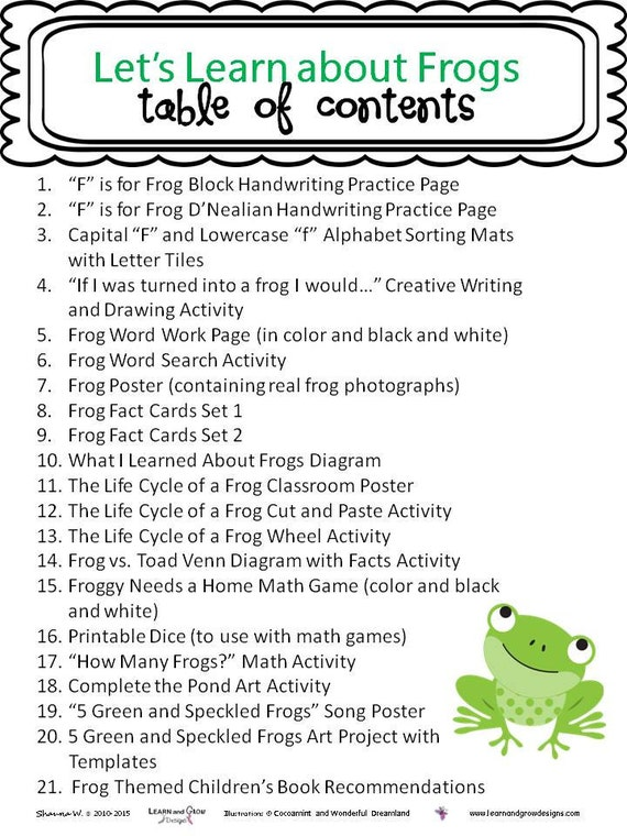 Lets Learn About Frogs Themed Learning Unit Etsy