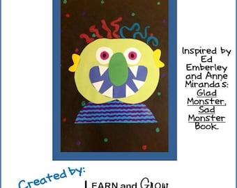 Glad Monster, Sad Monster Art Lesson for Kids with Templates
