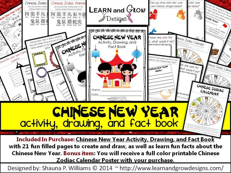 Chinese New Year Activity Drawing and Fact Book for Kids image 0
