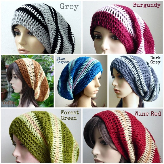 9ba012d1adf Handmade Long Striped Crochet Slouch hat made to order