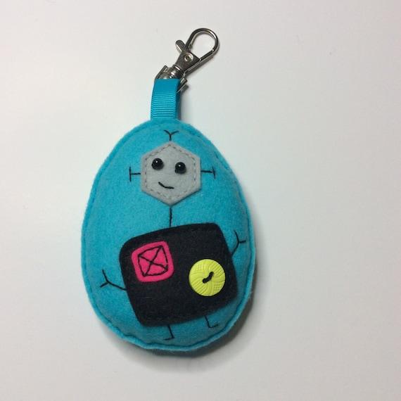 Bag Charm Key ring Felt kit DIY kit Embroidery kit Robot Key Ring Kit Keychain Geek Funky Stitching Cute