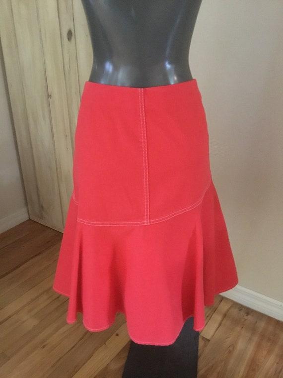 Vintage Ralph Lauren Orange Denim Skirt - image 4