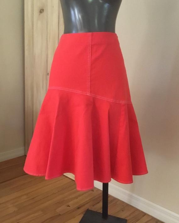 Vintage Ralph Lauren Orange Denim Skirt - image 1