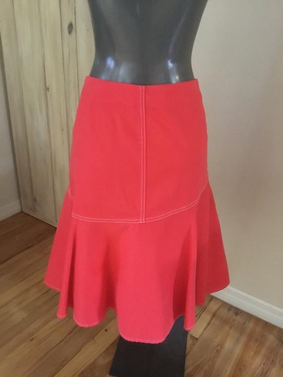 Vintage Ralph Lauren Orange Denim Skirt - image 5