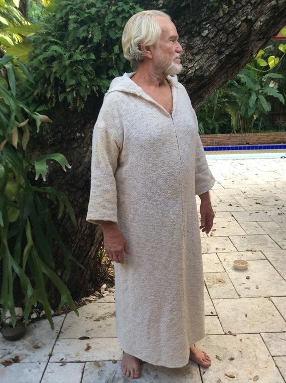 Vintage 1980s Men Natural Cotton Caftan Robe Handm