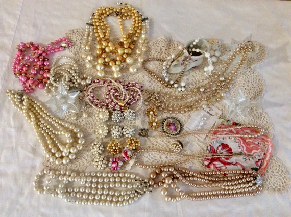 PEARLS -  Vintage Jewelry Lot & Boudoir Collection