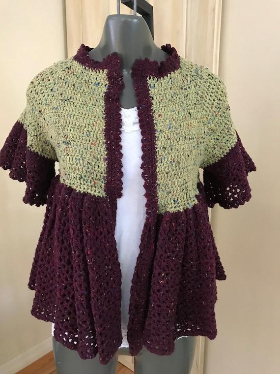 Hand Crocheted Ruffle Cropped Cardigan XS