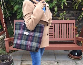 Black green red tartan Scottish bag purse tote diapper Harris tweed shoulder bag gift her women girl girlfriend British UK GB