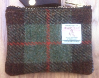 gadget case tweed pouch gift for her Scottish gift Black Harris tweed coin purse charger case stocking filler mom gift
