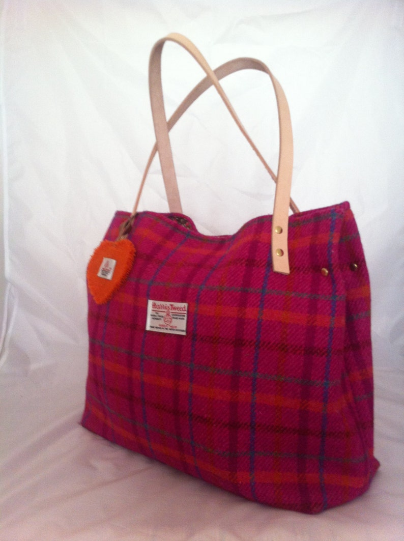 cc0072cc1a Harris tweed bag purse tote made in Scotland pink plaid tartan